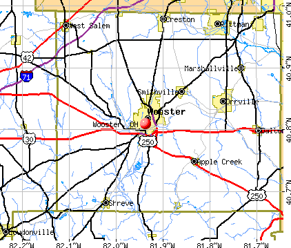 Wooster, OH map