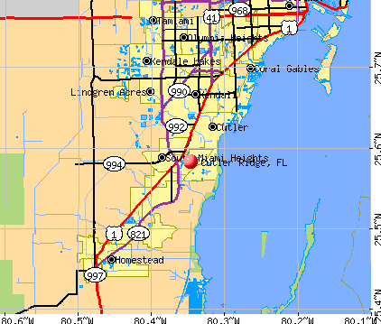 Cutler Ridge, FL map