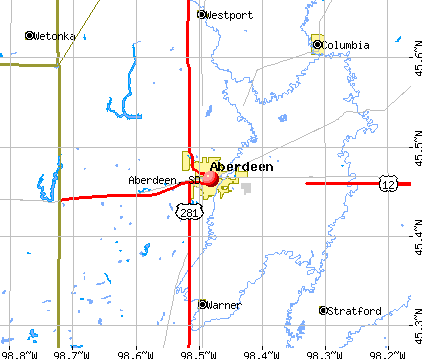 Aberdeen, SD map