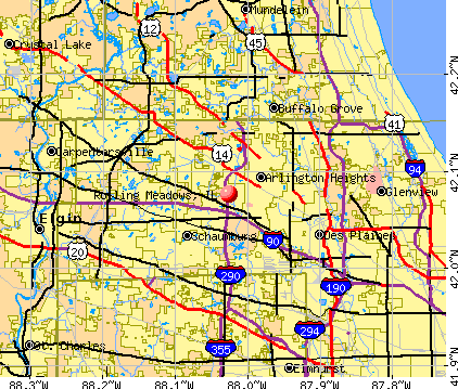 Rolling Meadows, IL map