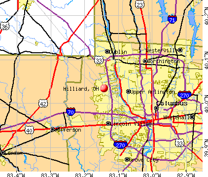 Hilliard, OH map
