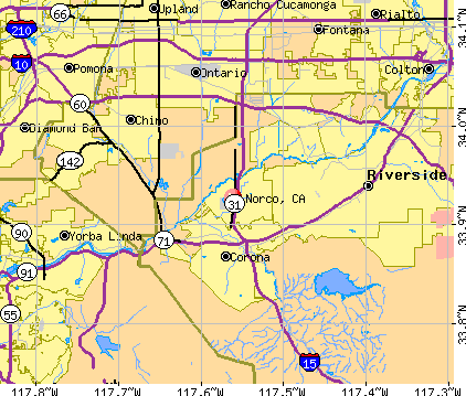 Norco, CA map