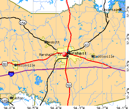Marshall, TX map