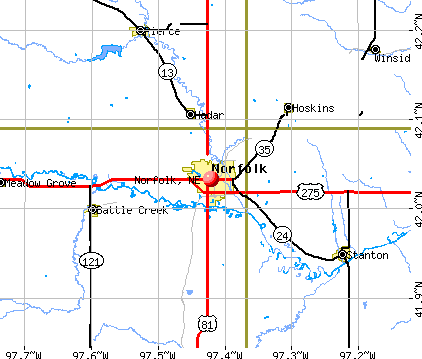 Norfolk, NE map