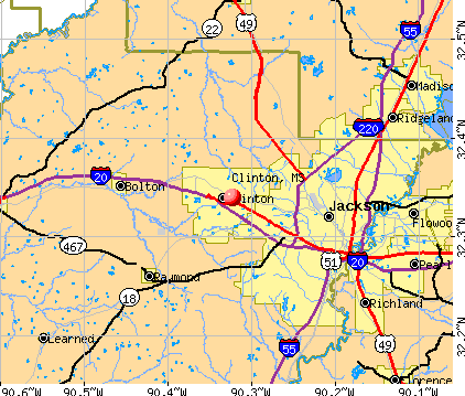 Clinton, MS map