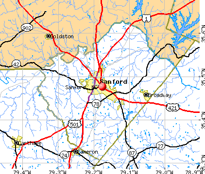 Sanford, NC map