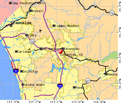 Escondido, CA map