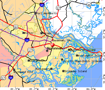 Savannah, GA map