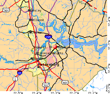 Hopewell, VA map