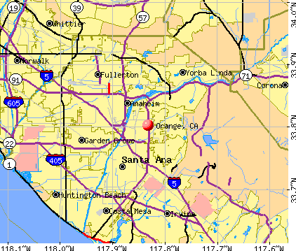 Orange, CA map