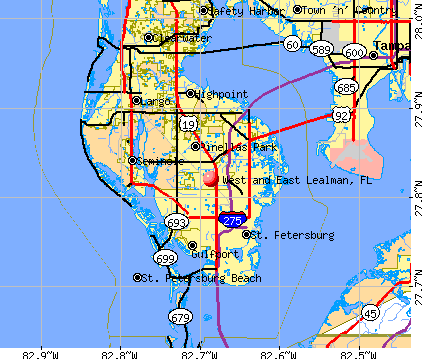 West and East Lealman, FL map