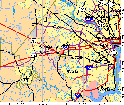 Fairfax, VA map