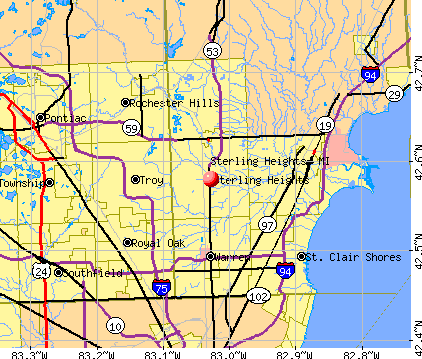 Sterling Heights, MI map