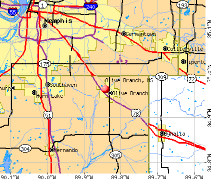 Olive Branch, MS map