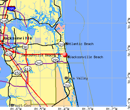 Jacksonville Beach, FL map