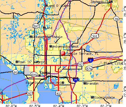 Temple Terrace, FL map