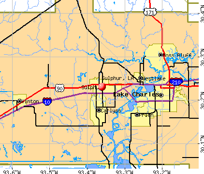 Sulphur, LA map