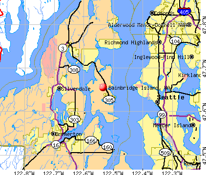Bainbridge Island, WA map