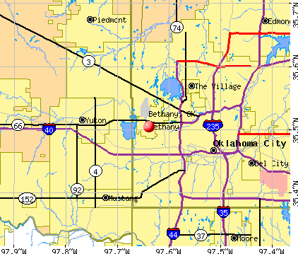 Bethany, OK map