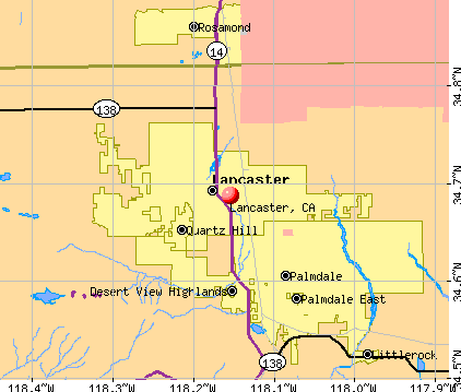 Lancaster, CA map