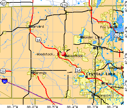 Woodstock, IL map