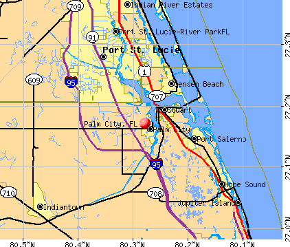 Palm City, FL map