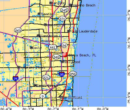 Dania Beach, FL map