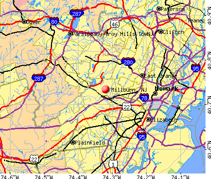 Millburn, NJ map