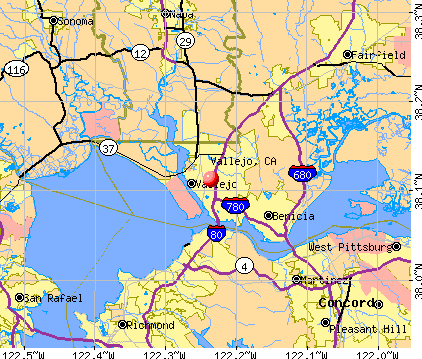 Vallejo, CA map