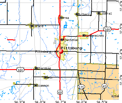 Pittsburg, KS map