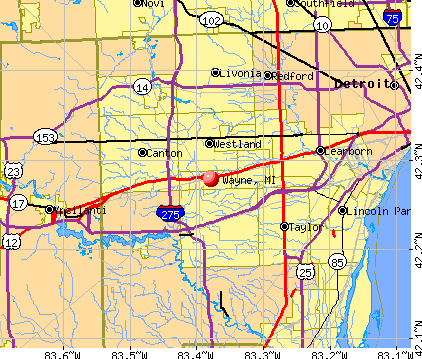 Wayne, MI map