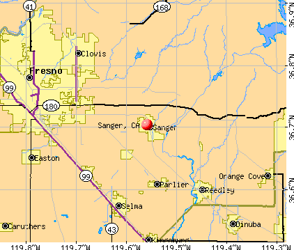 Sanger, CA map