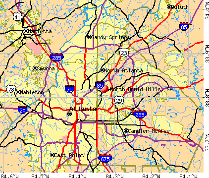 North Druid Hills, GA map