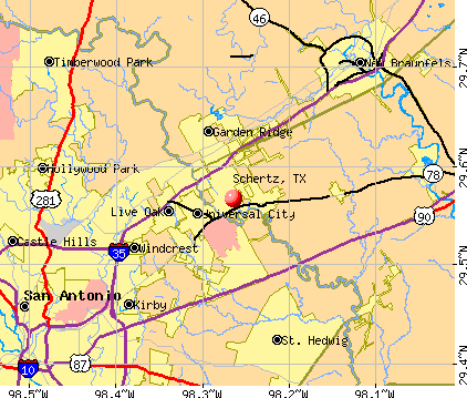 Schertz, TX map