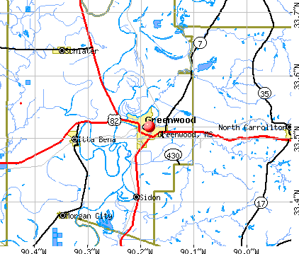 Greenwood, MS map