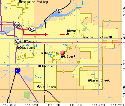 Gilbert Arizona AZ profile population maps real estate