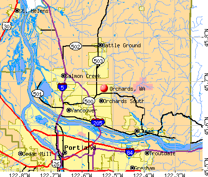 Orchards, WA map