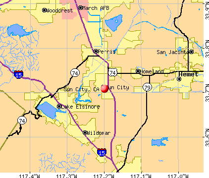 Sun City, CA map