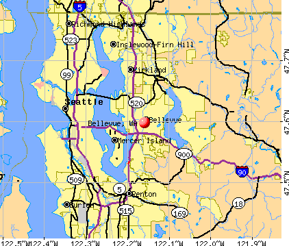 Bellevue, WA map