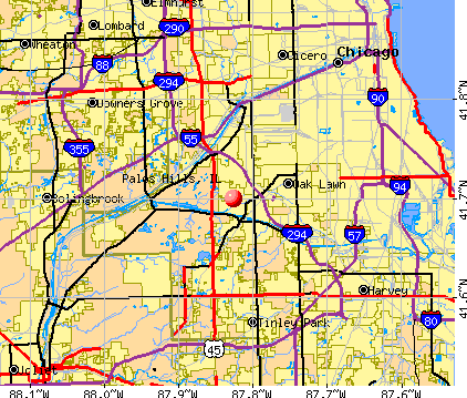 Palos Hills, IL map