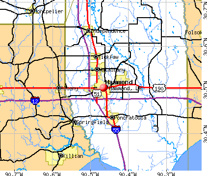 Hammond, LA map