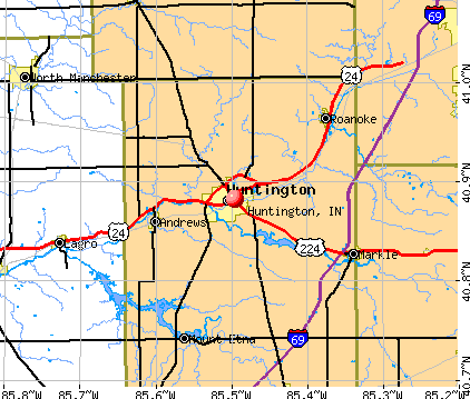 Huntington, IN map