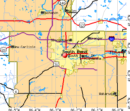 South Bend, IN map