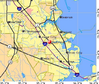 Dickinson, TX map