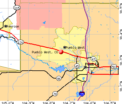 Pueblo West, CO map