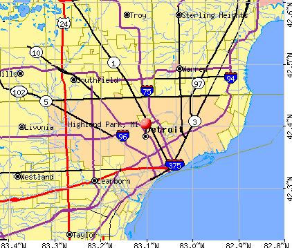 Highland Park, MI map