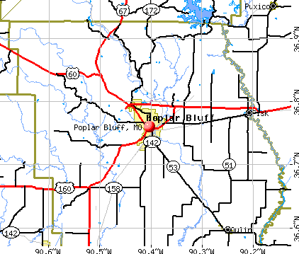 Poplar Bluff, MO map