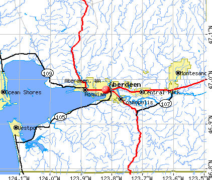 Aberdeen, WA map