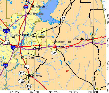 Brandon, MS map