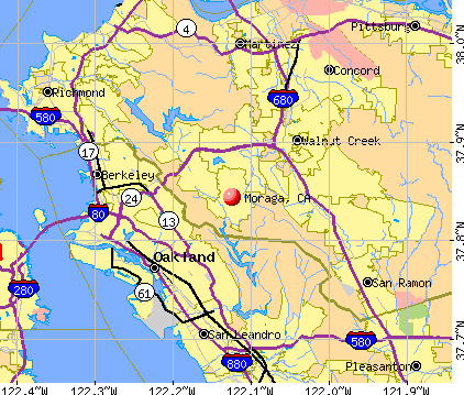 Moraga, CA map